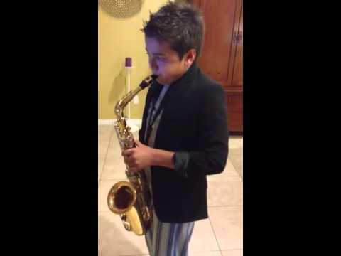Kid playing sax