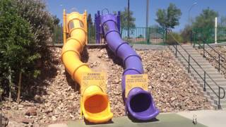 Dogs Slide Down The Flumes (arroyo Grand Dog Park & Sports Complex)