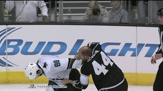 Brent Burns vs Robyn Regehr Apr 24, 2014