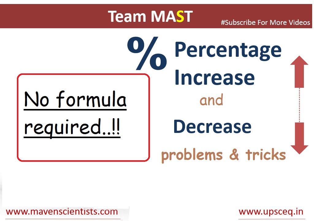 Percentage Increase And Decrease Problems And Tricks Team Mast