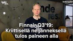 Finnair Q3'19: kriittisellä neljänneksellä tulos paineen alla