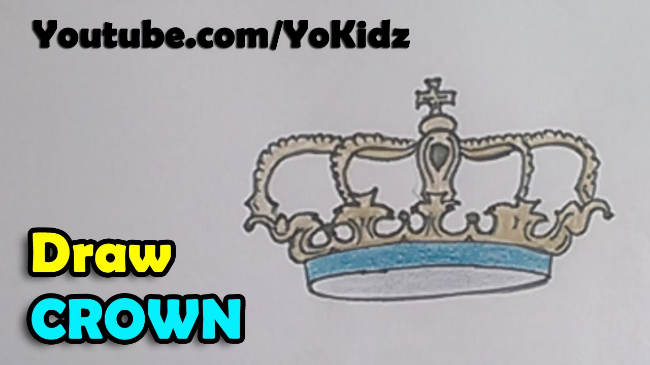 how to draw a crown step by step for kids youtube