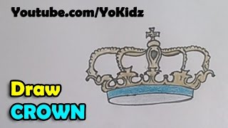 How to draw a Crown step by step for kids