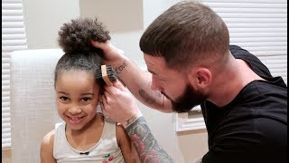 DADDY DOES DAUGHTER'S HAIR FOR FIRST TIME