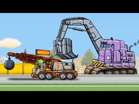 เกมส์ แมคโครตักดินบังคับ รถแม็คโครตักดิน รถทุบทำลายตึก [ วีดีโอสำหรับเด็ก] Excavator Kids