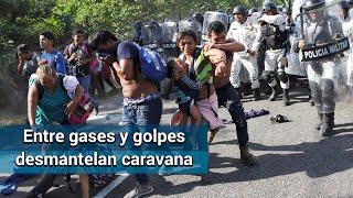 Con golpes y gas pimienta Guardia Nacional desmantela caravana migrante