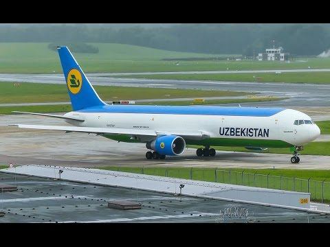 [4K] Uzbekistan Cargo 767-300F UK60071 rainy take-off @ Hamburg Airport