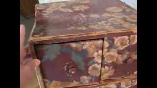 Antique 26 Inch Wall Paper Covered Chest Of Drawers ~ Sold