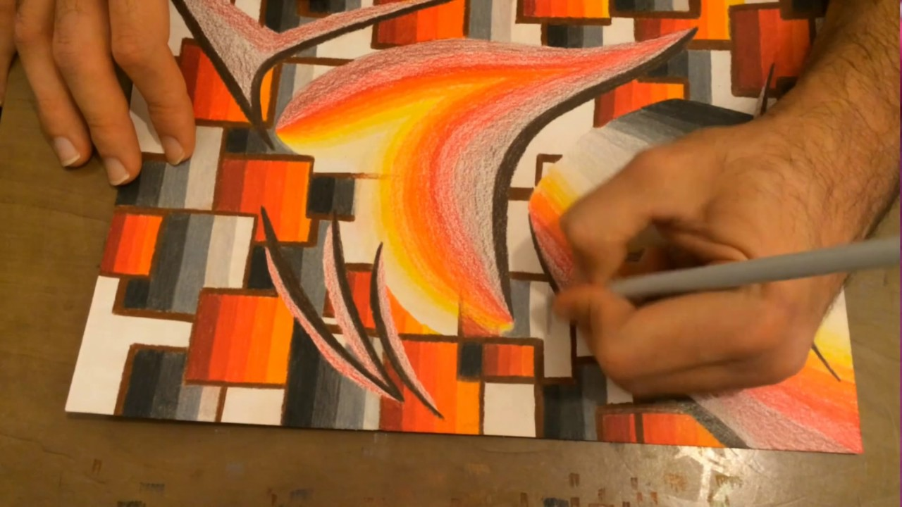 Very easy abstract drawing creating flame colours with oil pencils