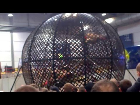 Globe of death with 3 bikes | bikeshow Leipzig