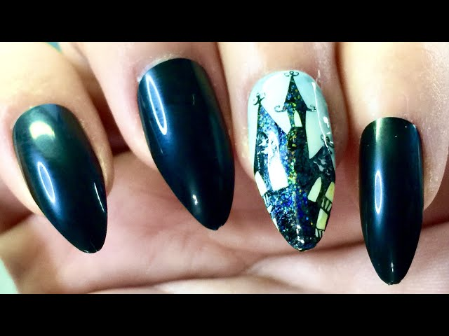 Demo_ Haunted house Halloween foil stamping nail with sticky stamping polish and watercolor polish