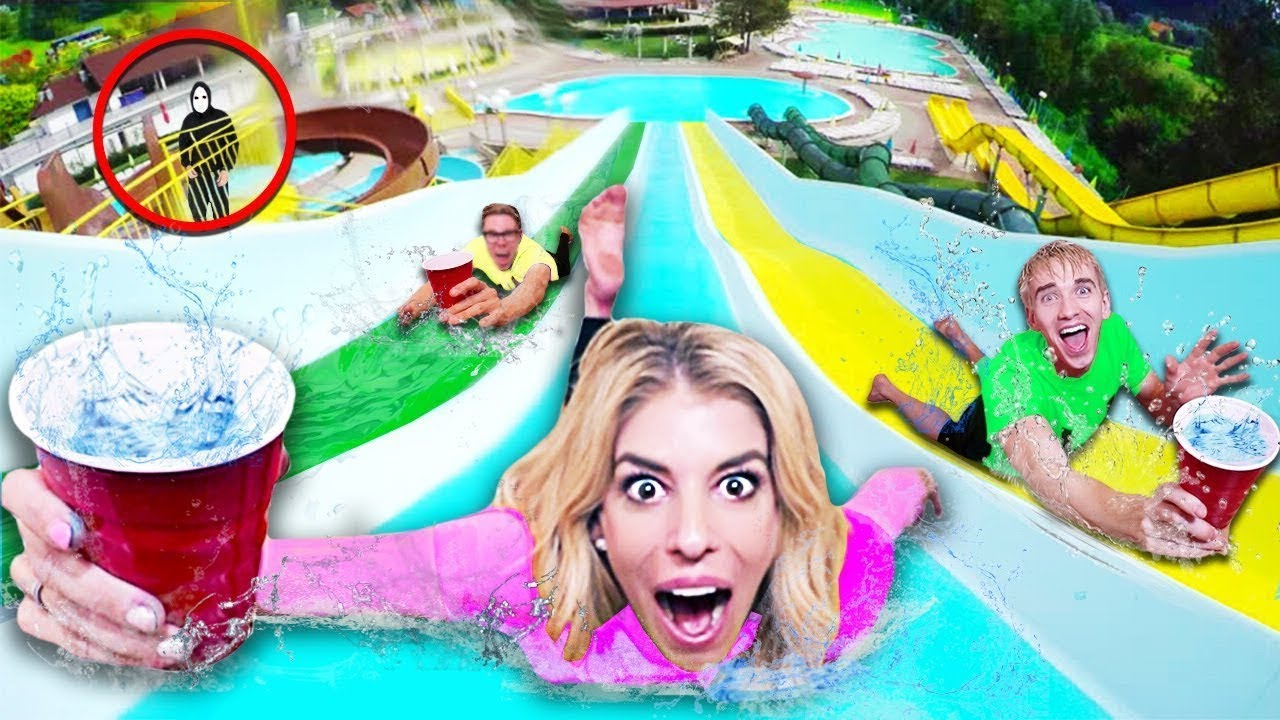 Last to Spill Wins on WORLDS Biggest Water Slide! (GAME MASTER Hidden Clues in Hawaii )