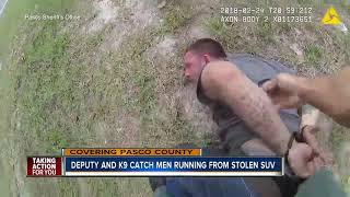 Pasco Co. deputy and K9 chase down stolen vehicle suspects