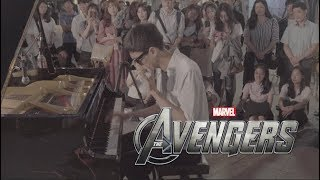 The Avengers Theme INSANE piano cover on street piano