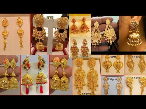 80% Discount on Latest Gold Earring Design with Price |  wedding gold jewellery design