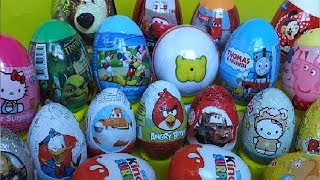 Repeat youtube video Surprise eggs Thomas Peppa Kinder Shrek Mickey CarsDisney Planes