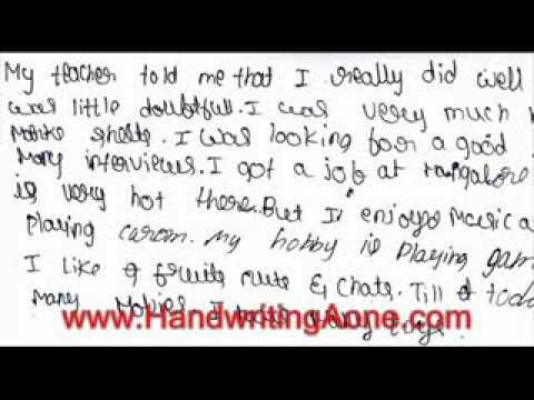 Handwriting Samples Of Kids And Adults Bangalore