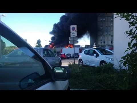 Spectaculaire incendie à l'hôpital d'Annonay - 7/7/2016