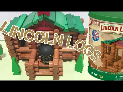 BUILDING A LINCOLN LOG HOUSE - STOP MOTION- TOY VIDEO FOR KIDS