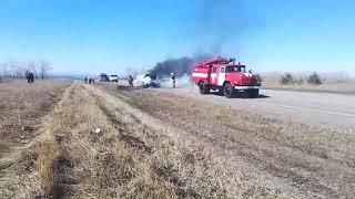 На трассе Минусинск   Курагино сгорел автомобиль