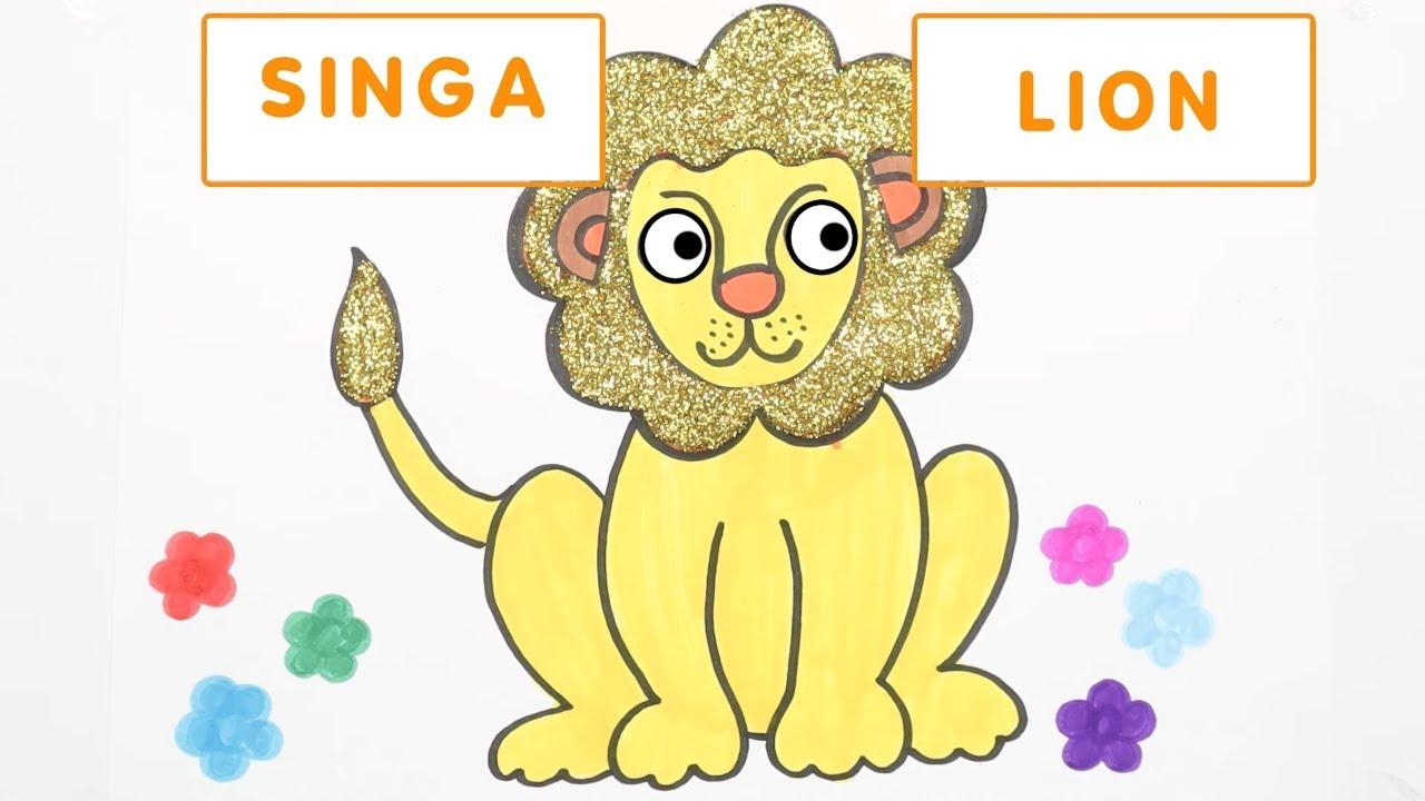 Cara Menggambar Dan Mewarnai Singa 🦁 Belajar Warna Dan Binatang