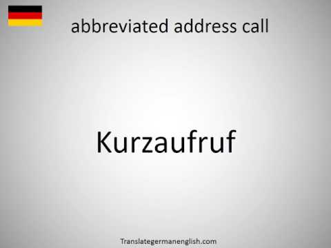 How to say abbreviated address call in German?