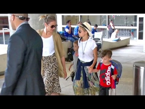 Cameron Diaz Looking Maternal With Nicole Richie's Kids Harlow And Sparrow At LAX