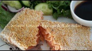 Sesame Crusted Salom & Kale Salad