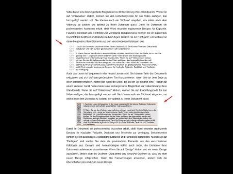 Erstellung Einer Formatvorlage Für Eine Transkript-Sequenz Mit Zeilennummerierung (MS Word)