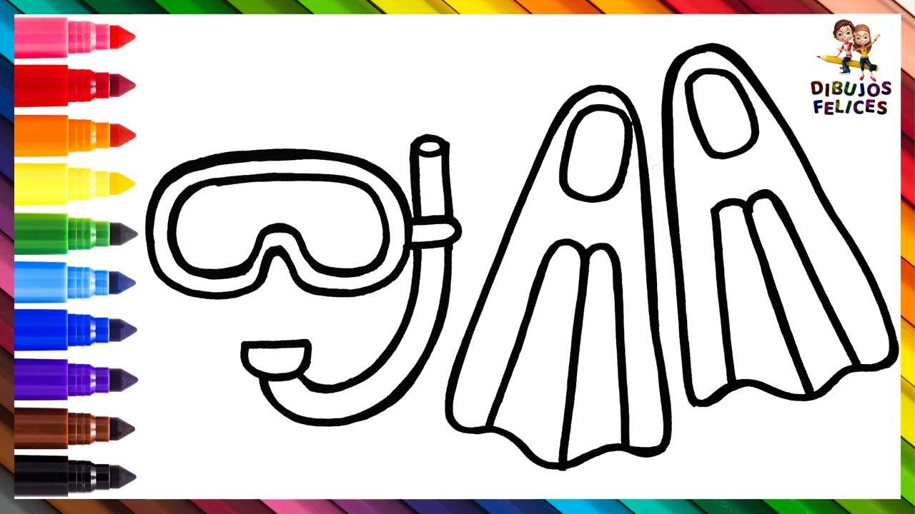 Dibuja y Colorea Accesorios De Buceo 🌊🤿🐚🌈 Dibujos Para Niños