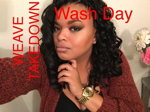 transitioning-hair-routine--wash-day-&-weave-take-down--relaxed- -texlaxed-hair!!