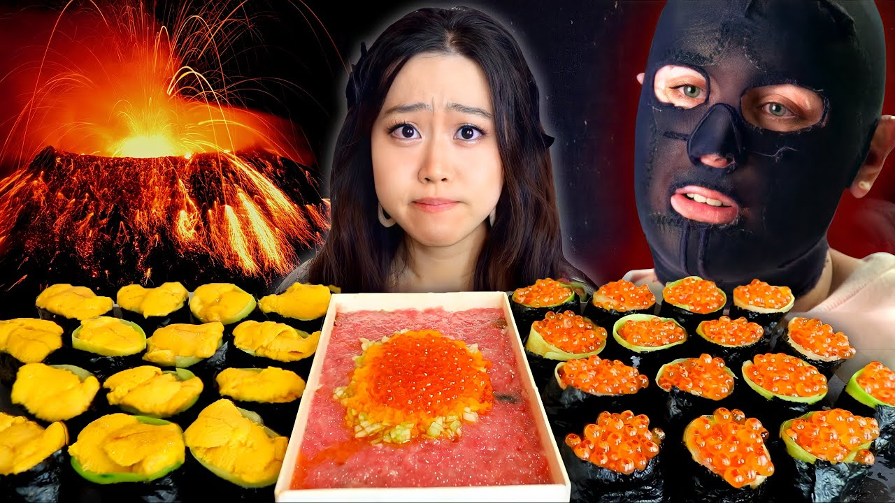 48 People Trapped In An Active Volcano - White Island Disaster | Uni & Salmon Egg Sushi Mukbang