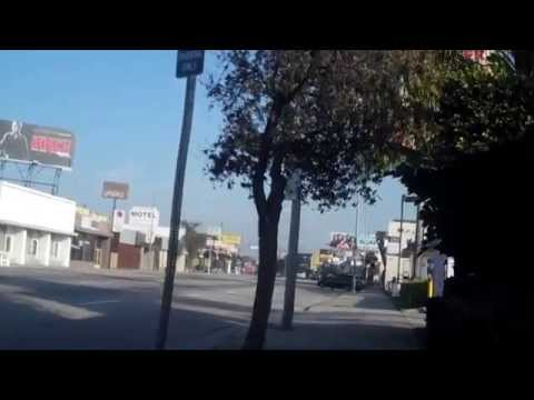 Sidewalk Biking on La Cienega Blvd from Expo Line Station to Olympic 2-3-2015