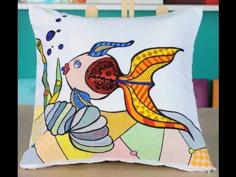 Como pintar sobre tela almohadon de raso lyly - Como pintar sobre tela ...