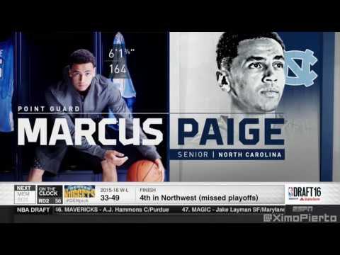 2016 NBA Draft   #55 Pick׃ Marcus Paige   Brooklyn Nets