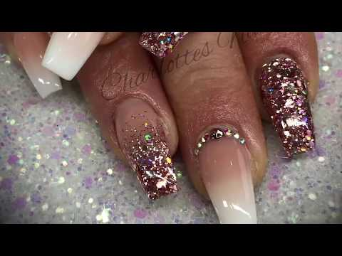Acrylic nails - ombré with rose gold glitter from YouTube · Duration:  14 minutes 35 seconds