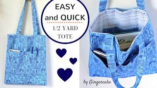 THE BEST 1/2 yard TOTE! Quick, Easy Sewing Fun for EVERYONE :)
