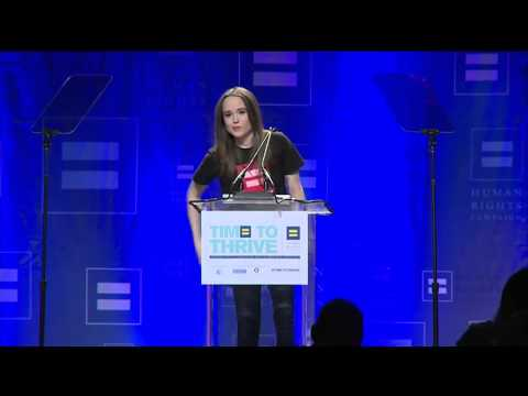 Ellen Page Comes Out As Lesbian Ellen Page Full Speech At LGBT Full Time to Thrive Conference HD