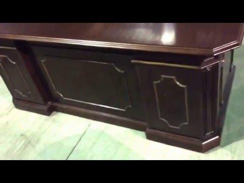 Three Piece Mahogany Traditional Desk, Credenza, Hutch Executive Set