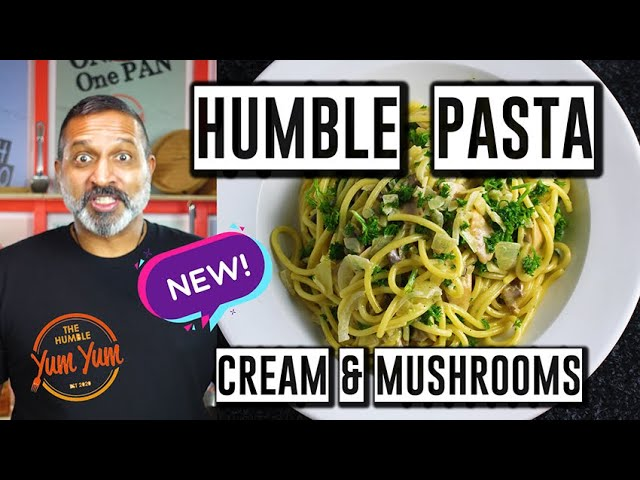 CREAMY HUMBLE PASTA WITH GARLIC AND MUSHROOMS! Feed 4 for under $20! ONE POT - ONE PAN