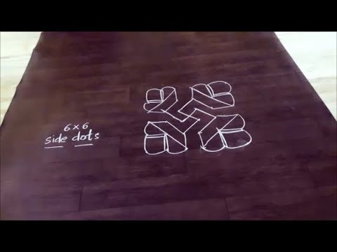Easy Simple 6 X 6 Dots Kolam Design// Rangoli / / Muggulu