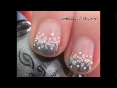 Pretty Konad Flower French Manicure, Bridal/Prom Nail Art Tutorial thumbnail