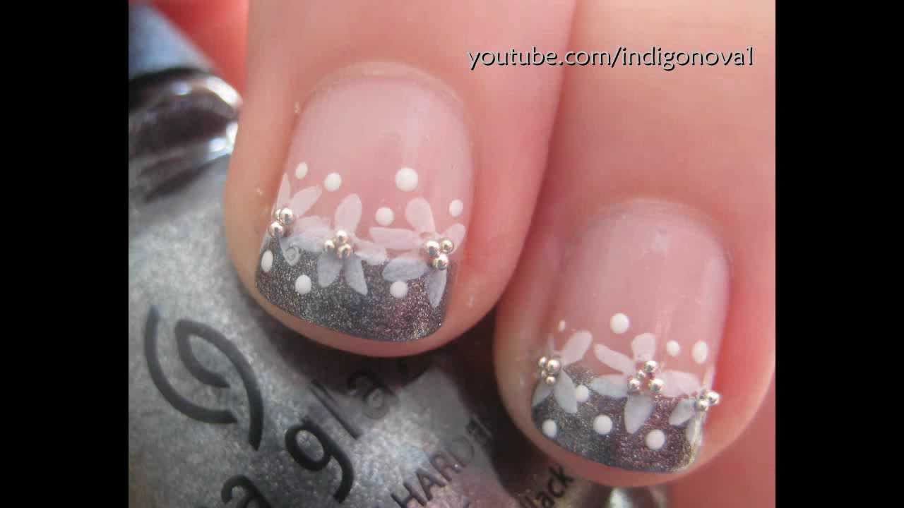Pretty Konad Flower French Manicure, Bridal/Prom Nail Art Tutorial ...