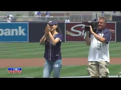 KUSI Weather Anchor Leslie Lopez Throws out 1st pitch at Petco Park