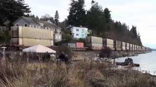 Garbage train on the beach in Mukilteo, WA, 1-31-2014