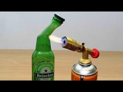 DIY: GLASS BEER BOTTLE vs GAS TORCH !!!