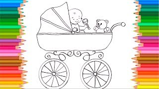Coloring book | Baby Carriage | Drawing for kids to learn colors