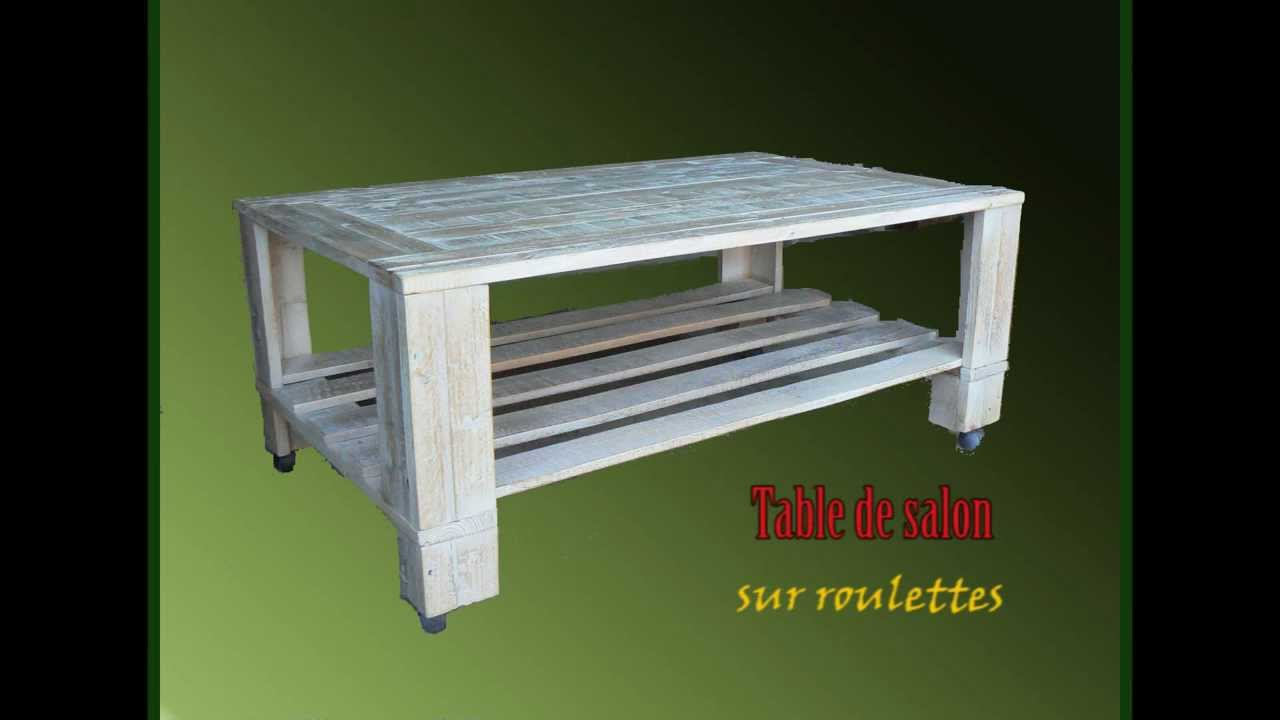Meubles en bois de palette youtube - Table tv a roulettes ...