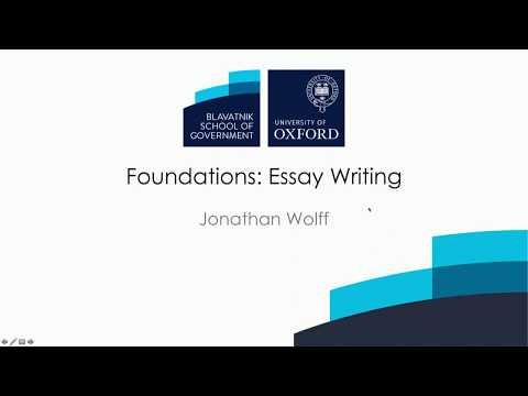 How to write a philosophy essay Jonathan Wolff, Blavatnik School of