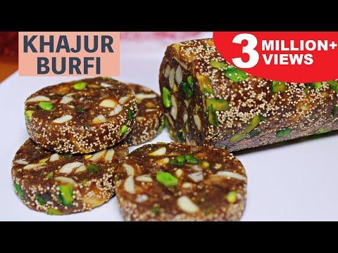 Khajur Burfi | Sugar Free Dates and Dry Fruit Roll | Khajur and Nuts Burfi | Kanak's Kitchen